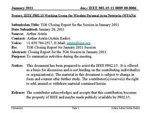 January 2011 doc IEEE 802 15 11 0089
