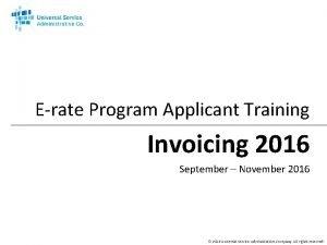 Erate Program Applicant Training Invoicing 2016 September November