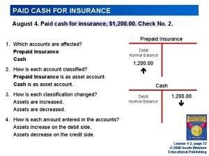 PAID CASH FOR INSURANCE August 4 Paid cash