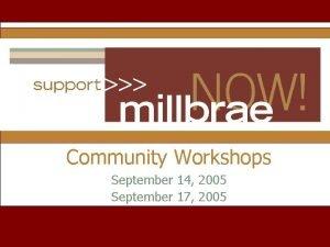 Community Workshops September 14 2005 September 17 2005