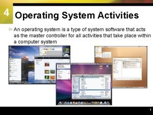 4 Operating System Activities An operating system is