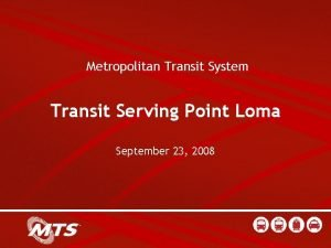 Metropolitan Transit System Transit Serving Point Loma September