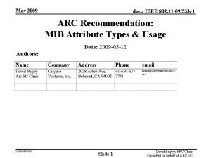 May 2009 doc IEEE 802 11 09533 r