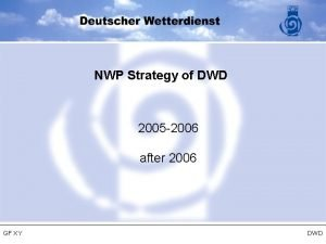NWP Strategy of DWD 2005 2006 after 2006