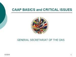 CAAP BASICS and CRITICAL ISSUES GENERAL SECRETARIAT OF