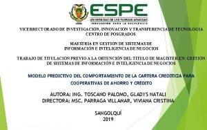 VICERRECTORADO DE INVESTIGACIN INNOVACIN Y TRANSFERENCIA DE TECNOLGA
