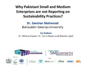 Why Pakistani Small and Medium Enterprises are not