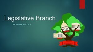 Legislative Branch BY AMBER ALCOCK The Three Branches