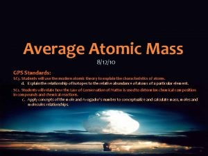 Average Atomic Mass 81210 GPS Standards SC 3