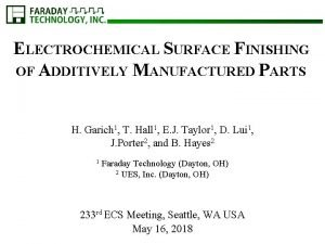 ELECTROCHEMICAL SURFACE FINISHING OF ADDITIVELY MANUFACTURED PARTS H