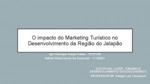 O impacto do Marketing Turstico no Desenvolvimento da