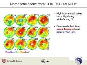 March total ozone from GOMESCIAMACHY 1996 1997 1998
