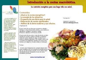 Introduccin a la cocina macrobitica La nutricin energtica