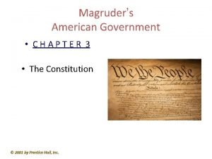 Magruders American Government CHAPTER 3 The Constitution 2001