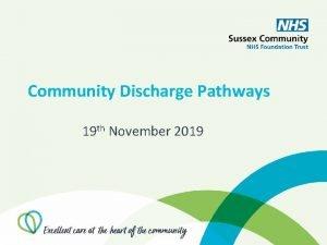 Community Discharge Pathways 19 th November 2019 Discharge