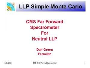LLP Simple Monte Carlo CMS Far Forward Spectrometer