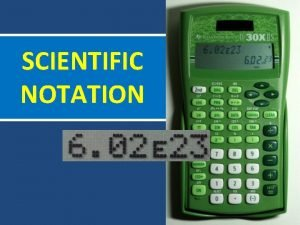 SCIENTIFIC NOTATION Scientific Notation is a way to