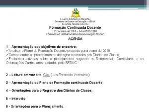 Governo do Estado do Maranho Secretaria de Estado