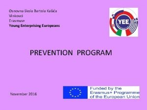 Osnovna kola Bartola Kaia Vinkovci Erasmus Young Enterprising