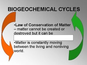 BIOGEOCHEMICAL CYCLES Law of Conservation of Matter matter