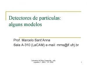 Detectores de partculas alguns modelos Prof Marcelo SantAnna