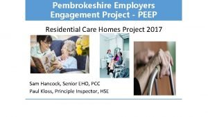 Pembrokeshire Employers Engagement Project PEEP Residential Care Homes