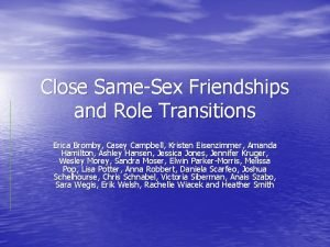 Close SameSex Friendships and Role Transitions Erica Bromby
