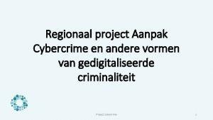 Regionaal project Aanpak Cybercrime en andere vormen van