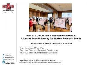 Pilot of a CoCurricular Assessment Model at Arkansas