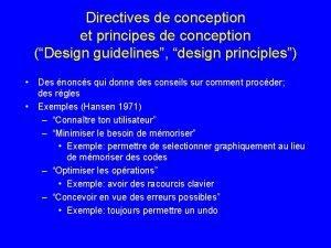 Directives de conception et principes de conception Design