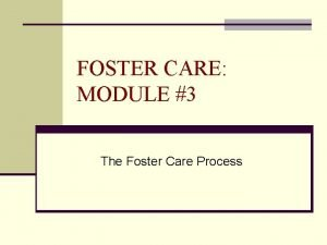 FOSTER CARE MODULE 3 The Foster Care Process