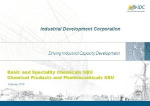Industrial Development Corporation Basic and Speciality Chemicals SBU