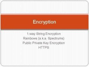 Encryption 1 way String Encryption Rainbows a k
