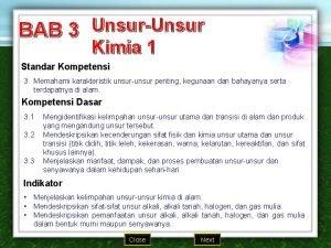 BAB 3 UnsurUnsur Kimia 1 Standar Kompetensi 3