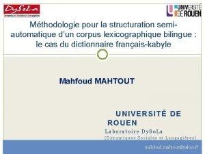 Mthodologie pour la structuration semiautomatique dun corpus lexicographique