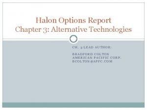 Halon Options Report Chapter 3 Alternative Technologies CH