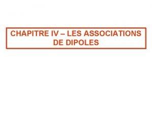 CHAPITRE IV LES ASSOCIATIONS DE DIPOLES I Associations