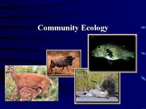 Community Ecology Differences within a Community Community an