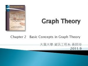 Graph Theory Chapter 2 Basic Concepts in Graph