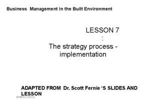 Business Management in the Built Environment LESSON 7