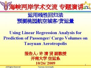 Using Linear Regression Analysis for Prediction of Passenger