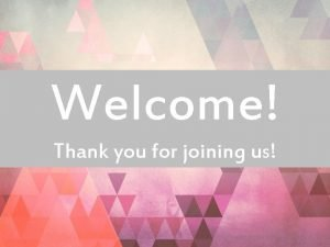 Welcome Thank you for joining us NEW CHURCH