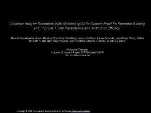 Chimeric Antigen Receptors With Mutated Ig G 4