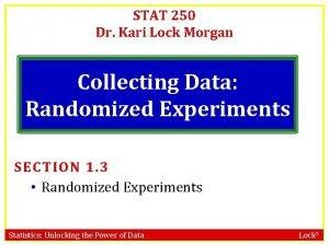 STAT 250 Dr Kari Lock Morgan Collecting Data