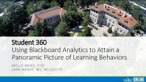 Student 360 Using Blackboard Analytics to Attain a