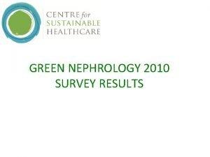 GREEN NEPHROLOGY 2010 SURVEY RESULTS Green Nephrology Survey