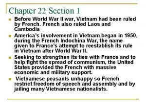 Chapter 22 Section 1 n n Before World