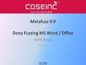 Metafuzz 0 9 Deep Fuzzing MS Word Office