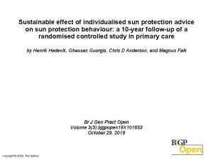 Sustainable effect of individualised sun protection advice on