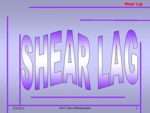 Shear Lag 322021 Prof Carlos Montestruque 1 Shear